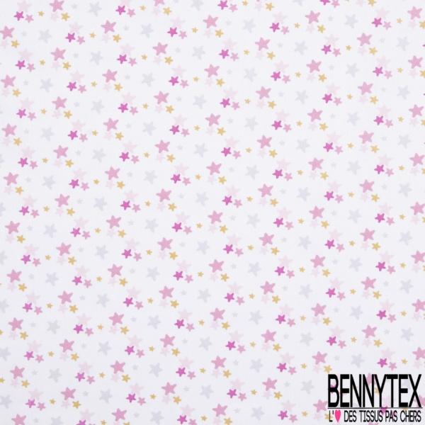 Coton imprimé Motif Petite Etoile Or fond Blanc