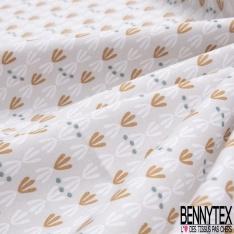 Coton imprimé Motif Oiseau du Paradis fond Nature Multicolore fond Perle