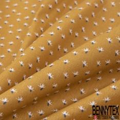 Coton imprimé Motif Petit Cactus Stylisé Blanc Ocre fond Perle