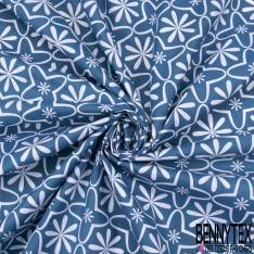 Coton imprimé Motif Carreau de Ciment fond Bleu Canard