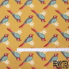 Coton imprimé Motif Oiseau Tropical fond Ocre
