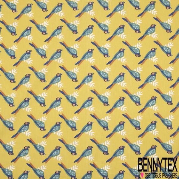 Coton imprimé Motif Oiseau Tropical fond Vert Anis