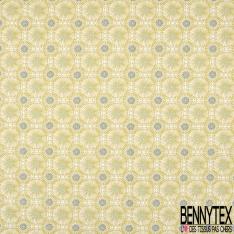 Coton imprimé Motif Mandala Vert Pistache fond Blanc