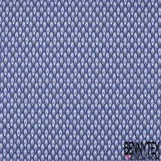 Coton imprimé Motif Plume Stylisée fond Marine