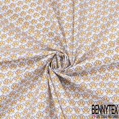 Coton imprimé Motif Plume de Paon Ocre fond Blanc
