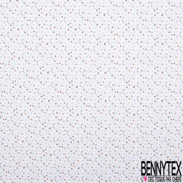 Coton imprimé Motif Coup de Feutre Multicolore fond Blanc