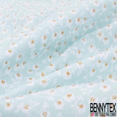 Coton imprimé Motif Branche d'Olivier Bleu Denim en Floraison fond Blanc