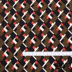 Scuba imprimé Géométrique Seventies ton Capucino Chair Crème Brique Noir