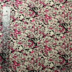 Coton Imprimé Thème Nature Rose Et Noir