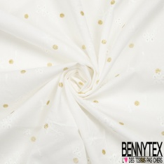 Voile de Coton façon Lin Transparent Satiné Blanc Discret