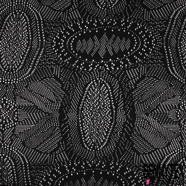 Maille Coton Tricoté Imprimé effet Ajouré