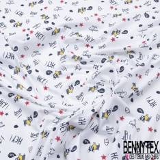 Jersey Coton Elasthanne Imprimé Petite Coccinelle Multicolore dans la Nature fond Blanc