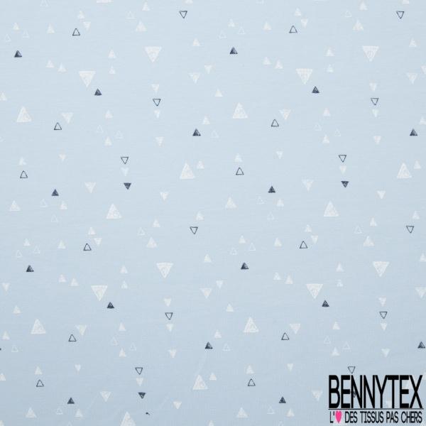 Jersey Coton Elasthanne Imprimé Triangle Eclipse Totale Blanc fond Azurin Grande Laize