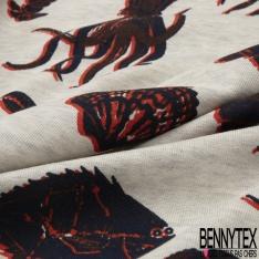Molleton Léger Bouclette Dinosaure fond Gris Chiné Grande Laize
