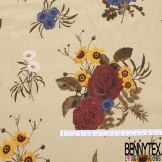 Crêpe Viscose Léger imprimé Floral Champêtre Multicolore fond Cocon