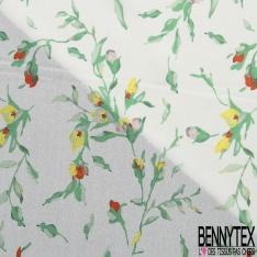 Crêpe Viscose Léger imprimé Fleur en Bouton sur Tige Jaune Rose Orange Aquarelle fond Blanc Discret