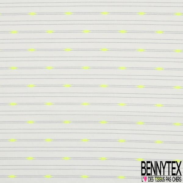 Coton Léger Motif Rayure Fine Horizontale Noir Blanc Cassé Broderie Amande Jaune Fluo