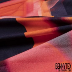Jersey Viscose imprimé Pictural Abstrait ton Vermillon Orangé Prune Bleu Impérial