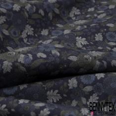 Fibranne Viscose Toucher Pashmina Grande Fleur Blanche fond Noir
