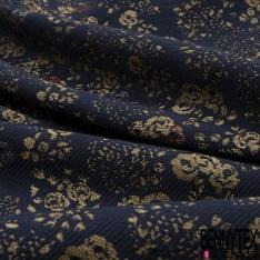 Brocart Sergé Bouquet de Rose Lurex Or Rouge Mandarin Noir fond Bleu Nuit