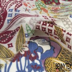 Fibranne Viscose Pashmina motif Petite Fleur Sauvage Vert du Soir Glace Bleue Gris Enfûmé fond Caban