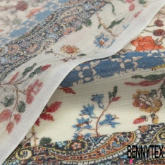 Voile Soie Viscose Crépon imprimé Tropical faune et Flore Multicolore fond Blanc Discret petite laize