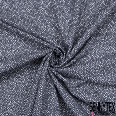 Popeline Coton Elasthanne esprit Liberty imprimé Floral Abstrait Camaïeu Bleu Gris fond Blanc