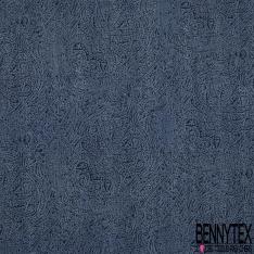 Popeline Coton Elasthanne Liberty imprimé Note de Musique Vert-Bleu du Soir fond Blanc