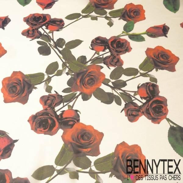 Crêpe Georgette de Soie Imprimé Roses Rouge