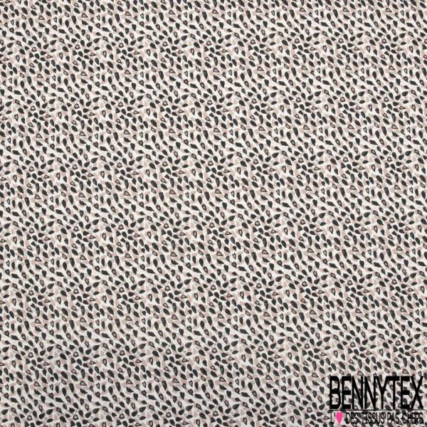 Jersey Viscose imprimé motif Petit Coeur Tête de Mort Noir Ecru Grenadine Blush Abricot