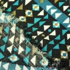 Fibranne Viscose Imprimé Graphique Tendance Bleu