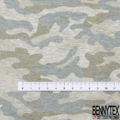 Molleton Gratté imprimé Camouflage Pastel Vert Gris Bleu de Pierre fond Gris Fumée Chiné