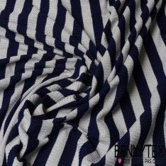 Maille Cotellée Acrylique Polyester Brillante Rayure Bleu Marine