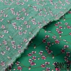 Fibranne Viscose motif Petites Fleur Hawaïenne fond Fiesta
