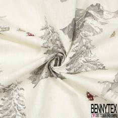 Toile Lin Souple Enduite Imprimé Ange Gris Blanc fond Perle Blush