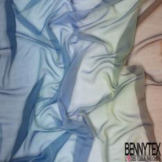 Mousseline de Soie Tie and Die Vin Rosé Vert-Bleu du Soir Horizontal