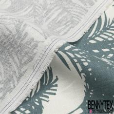 Toile Lin imprimé Motif forêt tropicale coloris agent de police Fond blanc