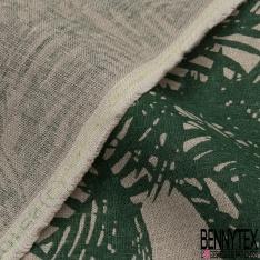 Toile Lin imprimé Motif forêt tropicale vert sapin Fond naturel
