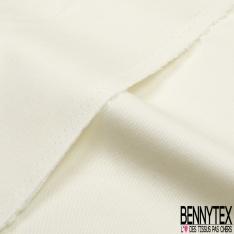 Coupon 3m Gabardine Coton Elasthanne Grainée Uni Blanc Hivernal