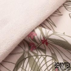 Molleton Bouclette imprimé feuilles tropicales Fond eau de rose grande laize