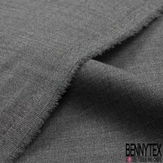 Laine polyester costume uni gris fusil chiné