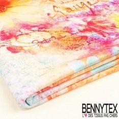 Coupon Maille Jersey Maillot de bain Multicolor Motifs Fleurs Exotiques