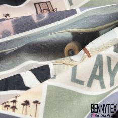 Jersey Coton Elasthanne motif pêle-mêle de photo thème Australie Fond blanc