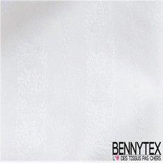 Tissu Jacquard Polycoton Blanc à motif