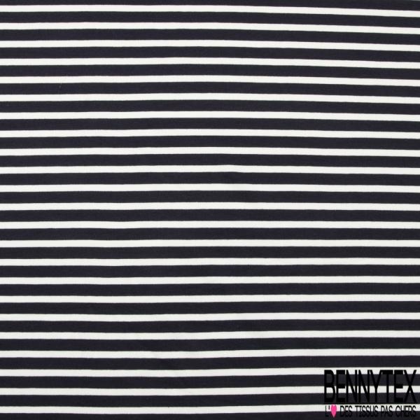 Molleton Bouclette léger imprimé rayure horizontale éclipse totale et blanc discret grande laize