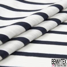 Jersey Coton Elasthanne motif Pois en Mylar Canon de Fusil fond Bleu Insigne