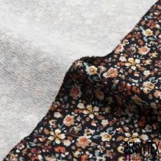 Jersey Viscose crêpé imprimé rétro petites fleurs champêtres multicolores Fond noir