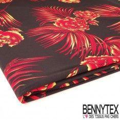 Coupon Jersey Cristal Imprimé Roses Rouges Jaunes Fond Noir
