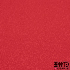 Fibranne Gaz viscose imprimé petits motifs léopards ton sur ton rouge