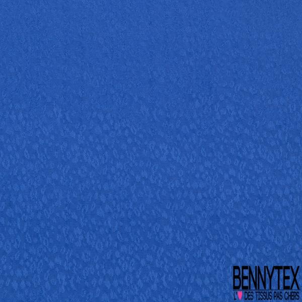 Fibranne Gaz viscose imprimé petits motifs léopards ton sur ton bleu nautique